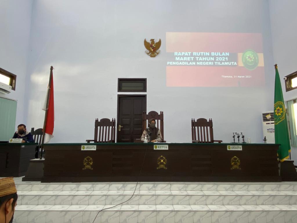 Rapat Rutin Bulan Maret Tahun 2021 PN Tilamuta