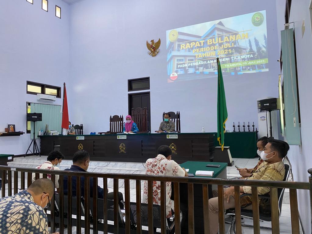Rapat Rutin Bulan Juli Tahun 2021 PN Tilamuta, Sosialisasi Tanggap Darurat, dan Sosialisasi Pedoman Pelaksanaan Penanganan Gratifikasi